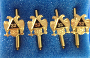 D9909 Shirt Stud Set Scottish Rite 32nd Gold