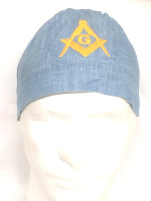 D562 Doo Rag Denim Embroidered Square & Compass Logo