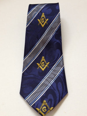 D1909 Polyester Woven Tie Square and Compass