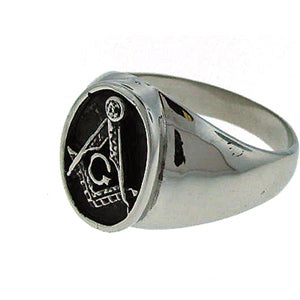 DSTR54 SS Masonic Ring Oval Black Paint
