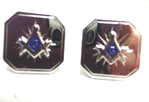 D0124 Cuff Links Masonic Silver S&C with Blue Center