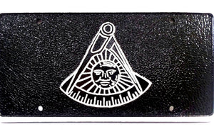 D7500 License Plate Masonic 1 1/2lb Cast Iron Aluminum Past Master No Square/Black