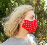 Adult Fitted Cloth Face Masks with Nose Piece, Adjustable Elastic/Ties and Filter Pocket