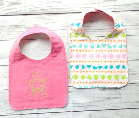 Tea Party Baby Bib - Pink & White