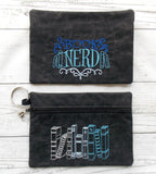 Book Nerd Embroidered Clutch Bag - Black