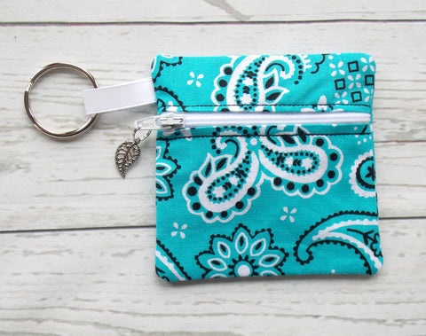 Bandana Ear Bud Case - Aqua