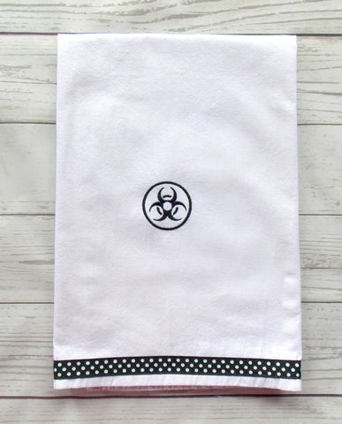 Bio Hazard Kitchen Towel ~ Black and White