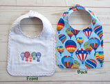Hot Air Balloon Baby Bib ~ Reversible