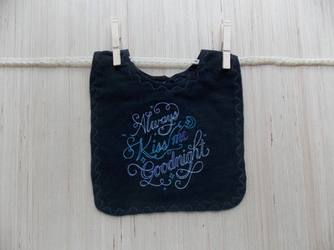 Always Kiss Me Good Night Moon Baby Bib ~ Black