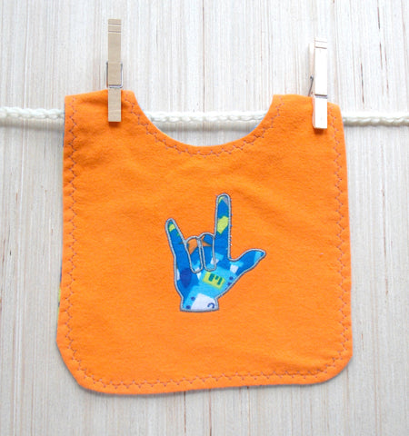 ASL Sign Language I Love You Hand Baby Bib - Orange and Blue