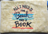 All I Need is a Beach and a Book Embroidered Clutch Cosmetic Bag