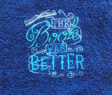 The Book Was Better Embroidered Hand Towel - Blue