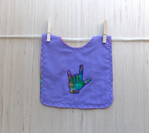 ASL Sign Language I Love You Hand Baby Bib - Lavender