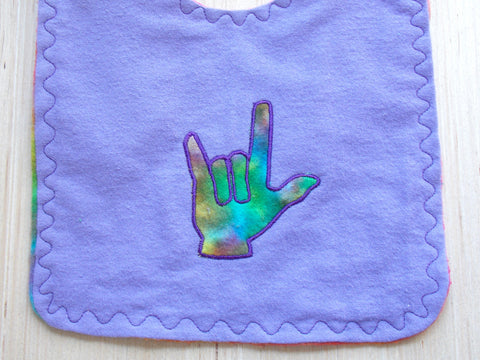 Asl Sign Language I Love You Hand Baby Bib Lavender Out Of My