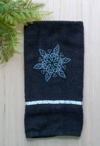 Celtic Snowflake Design Hand Towel ~ Black