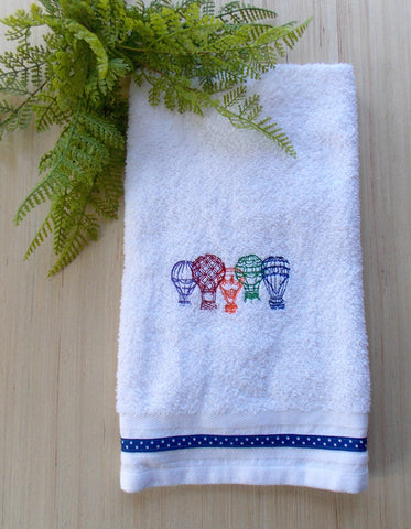 Hot Air Balloon Hand Towel ~ Vintage Style