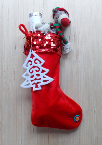 Red Sequined Fleece Stocking Care Package