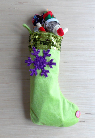 Lime Green Sequined Fleece Stocking Care Package