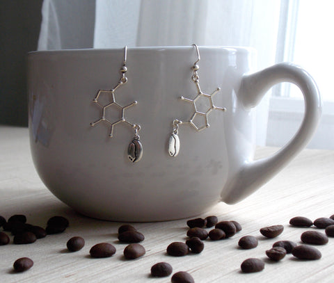Caffeine Molecule Earrings - Silver Toned