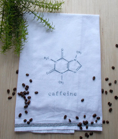 Caffeine Molecule Coffee Kitchen Towel - White