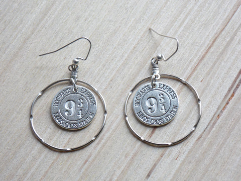 Wizard Train Station Earrings - Silver Tone