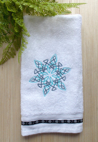 Celtic Snowflake Design Hand Towel ~ White