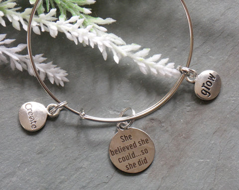 She Believed She Could...So She Did Bracelet - Silver-Tone