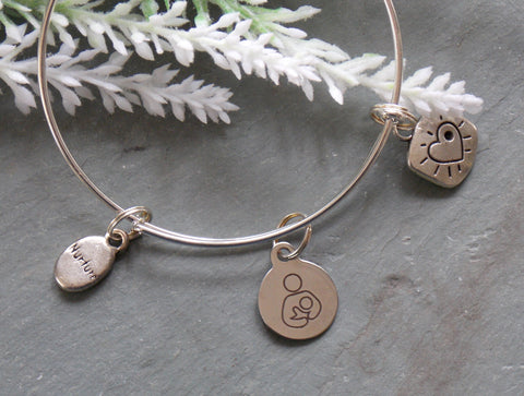 Breastfeeding Symbol Mother Child Bracelet - Silver-Tone