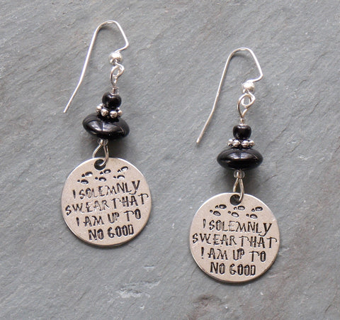 I Solemnly Swear Earrings - Silver-Tone