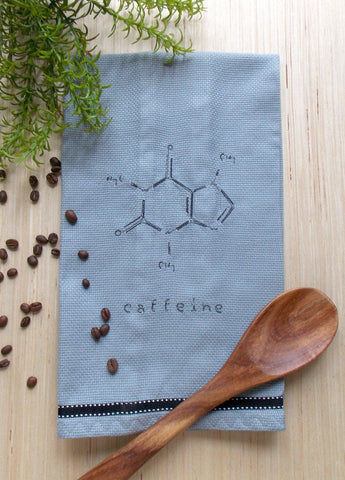 Caffeine Molecule Coffee Kitchen Towel - Gray