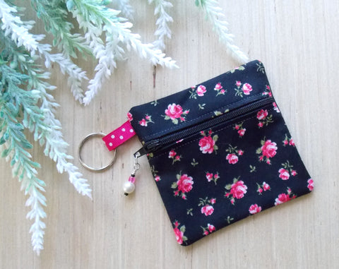 Rose Floral Ear Bud Case - Black