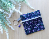 Rose Floral Ear Bud Case - Purple