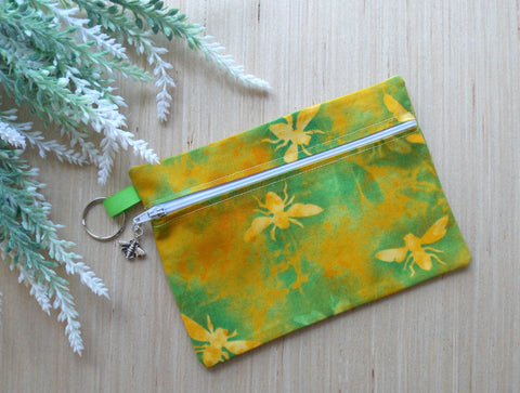 Bee Cosmetic Bag - Batik Green