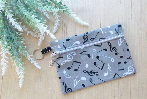 Music Note Cosmetic Bag & Clutch Purse - Gray