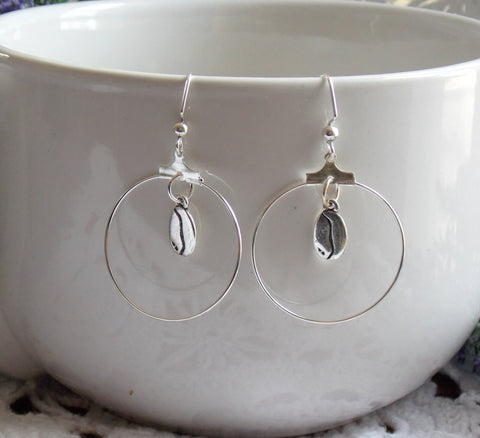 Coffee Bean Earrings - Silver