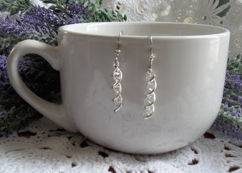 DNA Double Helix Earrings - Silver