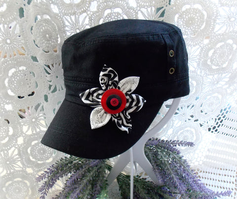 Cadet Cap - Black, White & Red