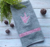 ASL I Love You Hand Towel - Pink & Gray
