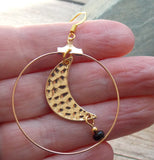 Crescent Moon Earrings - Gold Tone