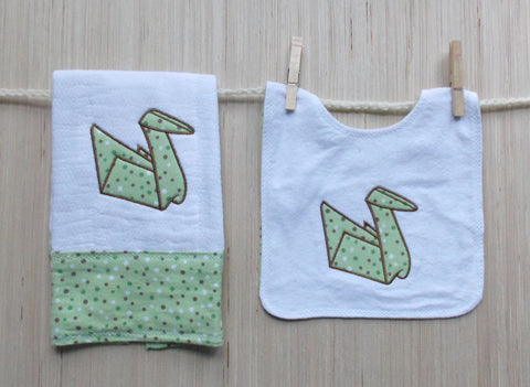 Origami Peace Crane Baby Bib & Burp Cloth Set