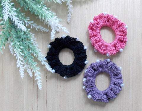 Crocheted Pearl Hair Scrunchie Trio
