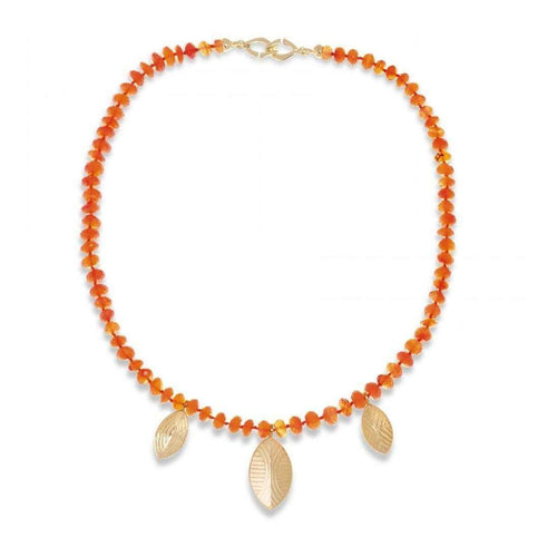 Carnelian Necklace With Gold Shields Charms-Hissia-JewelStreet US
