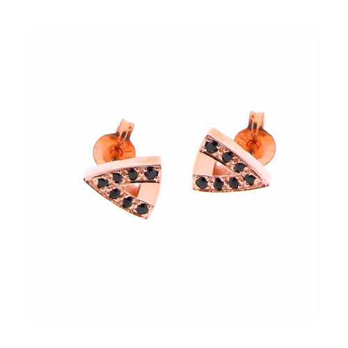 Rose Gold Black Spinel Arrow Head Studs