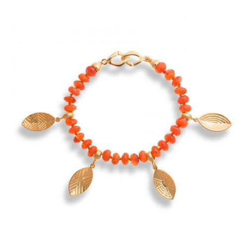 Carnelian Bracelet With Gold Shields Charms-Hissia-JewelStreet US