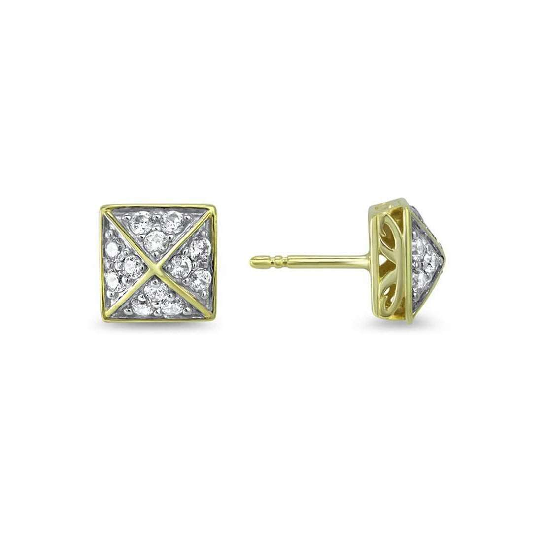 Empire Pave Square Stud Earring-REALM-JewelStreet US