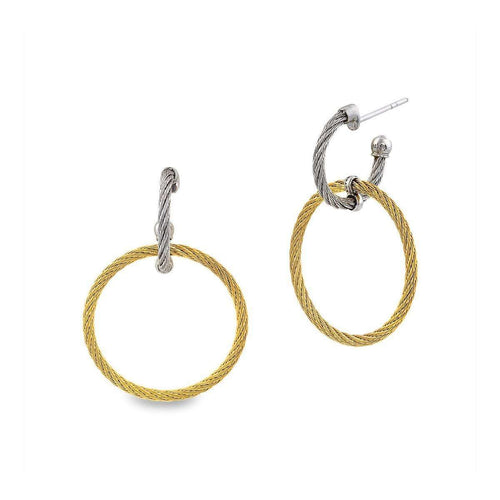 Classique Earrings Yellow and Grey Circle Drop-ALOR-JewelStreet US