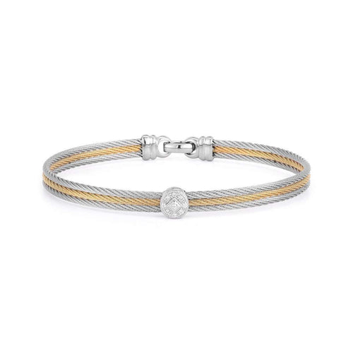 Classique Bangle Grey and Yellow Single Round Station-ALOR-JewelStreet US