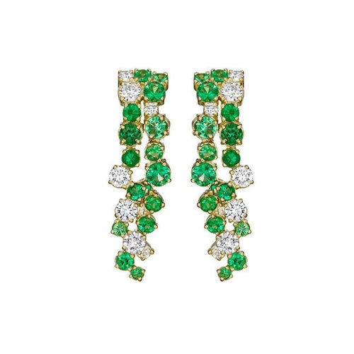 Melting Ice Emerald Drop Earrings-Madstone Design-JewelStreet US