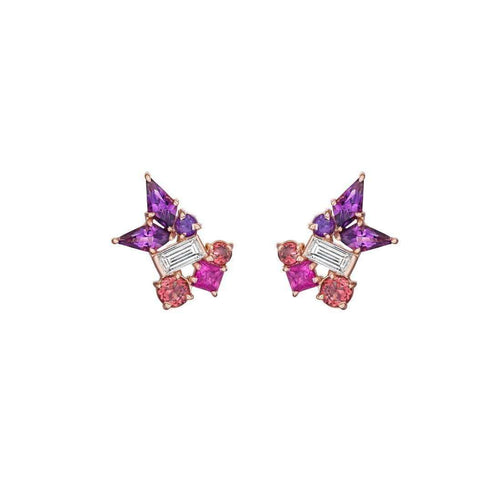 Melting Ice Baguette Diamond Amethyst Kite Stud-Madstone Design-JewelStreet US