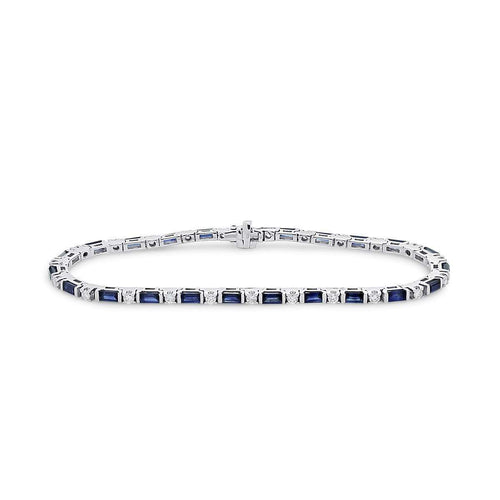 18kt White Gold Sapphire and Diamond Line Bracelet-Marmalade Fine Jewellery-JewelStreet US